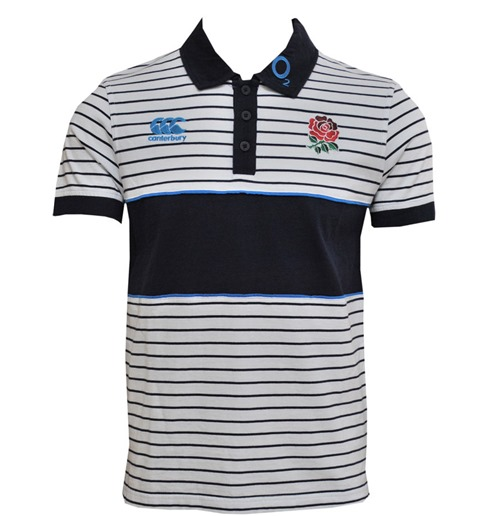Angleterre rugby Polo rayé Canterbury 2013-14 (blanc)