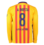 Maillot Manches Longues FC Barcelone Away 2015-2016 (A.Iniesta 8)