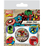 Marvel Comics pack 5 badges Iron Man