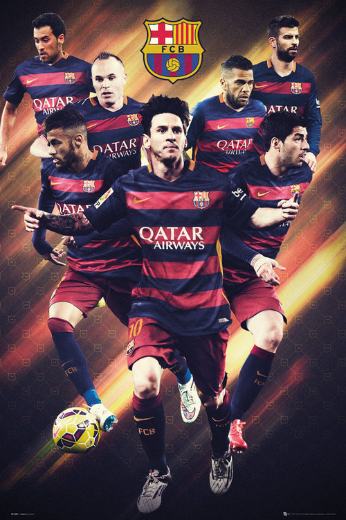 Poster FC Barcelone Joueurs 15/16