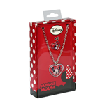 Ensemble Collier+Bague en Acier Minnie Mouse Fond Rouge