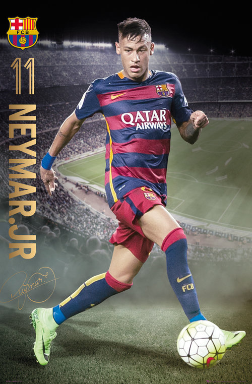 Poster FC Barcelone Neymar Action 15/16