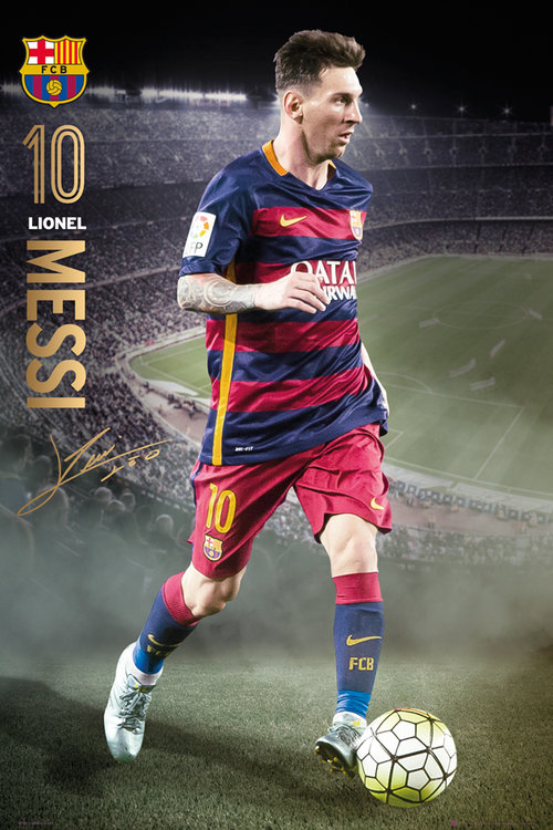 Poster FC Barcelone Messi Action 15/16