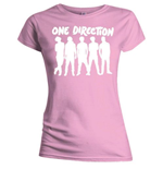 T-shirt One Direction: Silhouette White on Pink