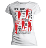 T-shirt One Direction: Silhouette Lyrics Red on White