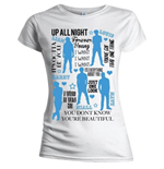 T-shirt One Direction: Silhouette Lyrics Blue on White