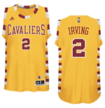 Maillot de Basketball Swingman Cleveland Cavaliers Kyrie Irving Adidas Hardwood Classics Gold