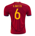Maillot de Football Espagne Home 2016-2017 (A.Iniesta 6) - Kids