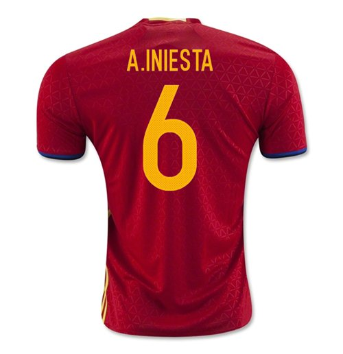 Maillot Espagne Home 2016-2017 (A. Iniesta 6)