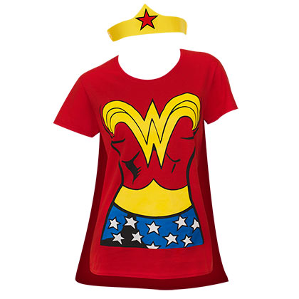 T-shirt Wonder Woman avec Cape et Tiare