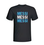 T-shirt Argentine Lionel Mess Player Flag (Noir) - Enfants
