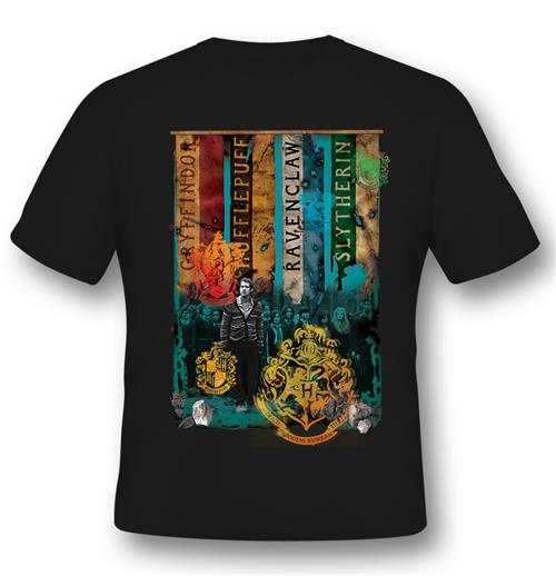 T-shirt Harry Potter Houses Noir