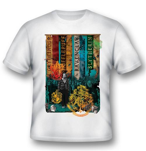 T-shirt Harry Potter Houses Blanc