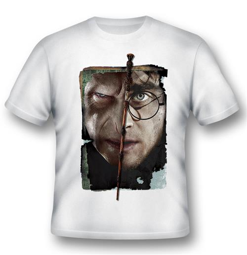 T-shirt Harry Potter Vs. Voldemort Blanc