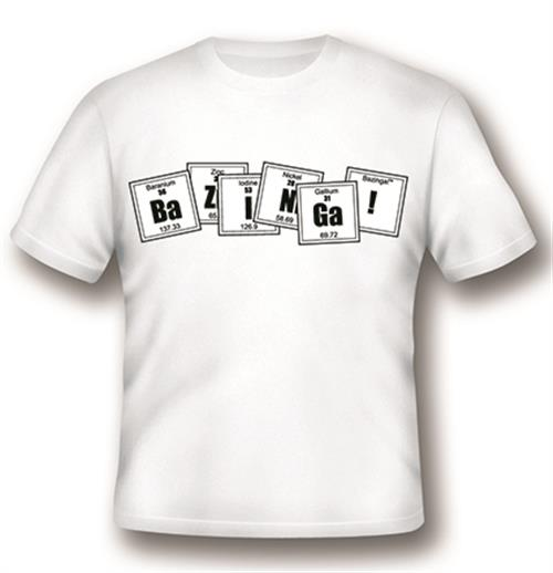 T-shirt Big Bang Theory Bazinga Formula Blanc