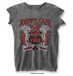 T-shirt Johnny Cash: Ring of Fire with Burn Out Finishing