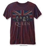 T-shirt Queen: Vintage Union Jack with Burn Out Finishing