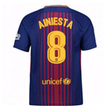 Maillot de Football FC Barcelone Home 2017-2018 (A. Iniesta 8) - Enfants