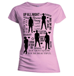 T-shirt One Direction pour femme: Silhouette Lyrics Black on Pink