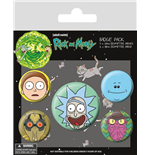 Rick and Morty pack 5 badges Heads