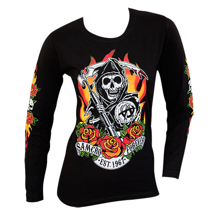 T-shirt Manches Longues Sons of Anarchy Reaper Flames Logo