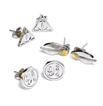 Harry Potter pack 3 boucles d'oreille Snitch/Deathly Hallows/Platform 9 3/4 (plaqué argent)