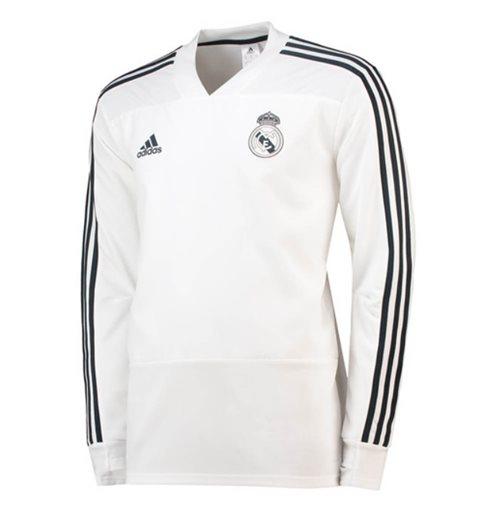Haut d'Entraînement Real Madrid Adidas 2018 2019 (Blanc)