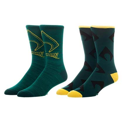 AQUAMAN Green Chaussettes Homme Crew Socks Set De 2
