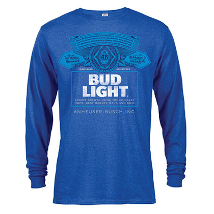 f461246205278 TSHirt   bleu chiné pour homme à manches longues BUD LIGHT Label