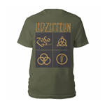 T-shirt Led Zeppelin - Gold Symbols & Black Squares