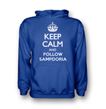 Sweat à capuche Keep Calm and Carry On (bleue)