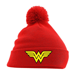 Wonder Woman bonnet Pom Pom Logo Rouge