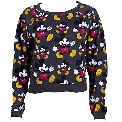 Sweat-shirt pour Femme Mickey Mouse Al Over Design Cropped