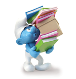 Smurf Carrying A Pile Of Books Statue