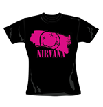 T-shirt Nirvana Stripey Pink. Produit officiel Emi Music