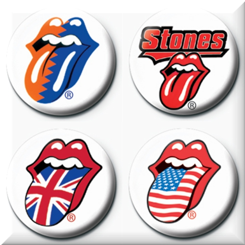 Pack 4 badges pins The Rolling Stones