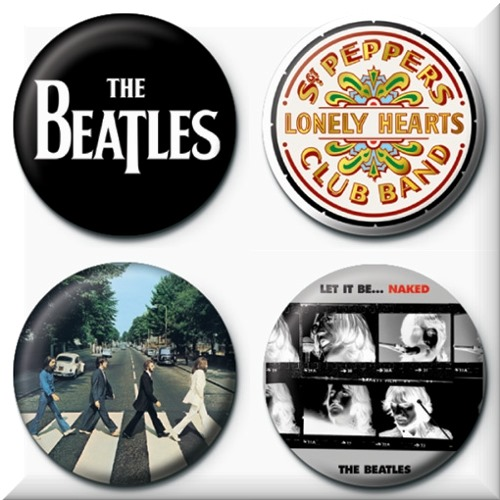 Pack 4 badges pins The Beatles