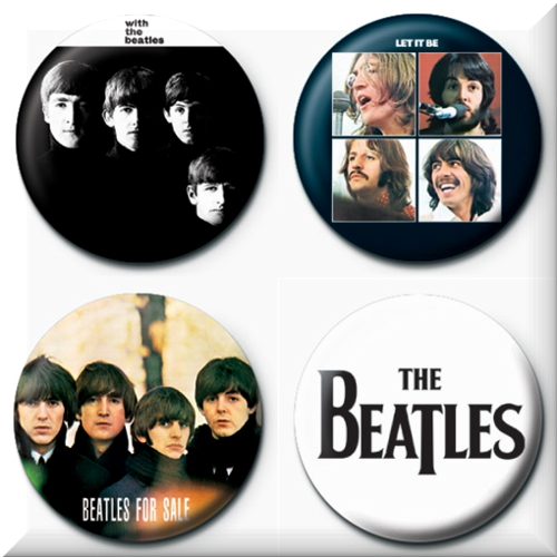 Lot de 4 badges Beatles