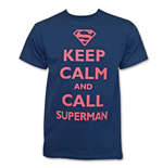 T-shirt Keep Calm and Call Superman - Bleu
