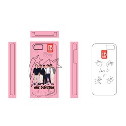 One Direction iPhone4S Cover 1D Motif: Pink Stars